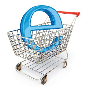 Online shopping, e-commerce and shopping baskets.
