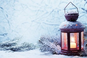 Prepare for the holiday season, christmas lantern in the snow.