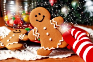 Christmas time celebrations with holiday season ginger bread man.