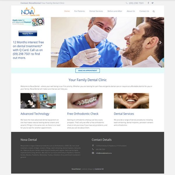 Nova Dental, Our portfolio of web designs.