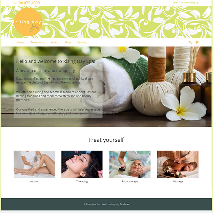 Rising day spa, Our portfolio of web designs.