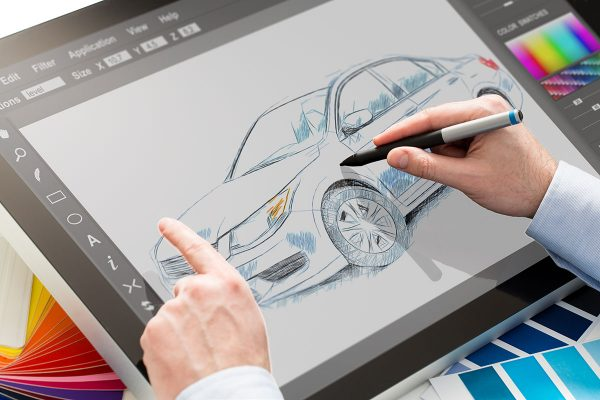 designer graphic drawing car creative creativity draw work tablet screen sketch