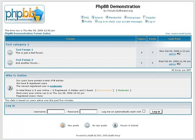 PHP BB demonstration forum.